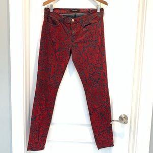 J Brand Red Brocad Skinny leg Jeans 29